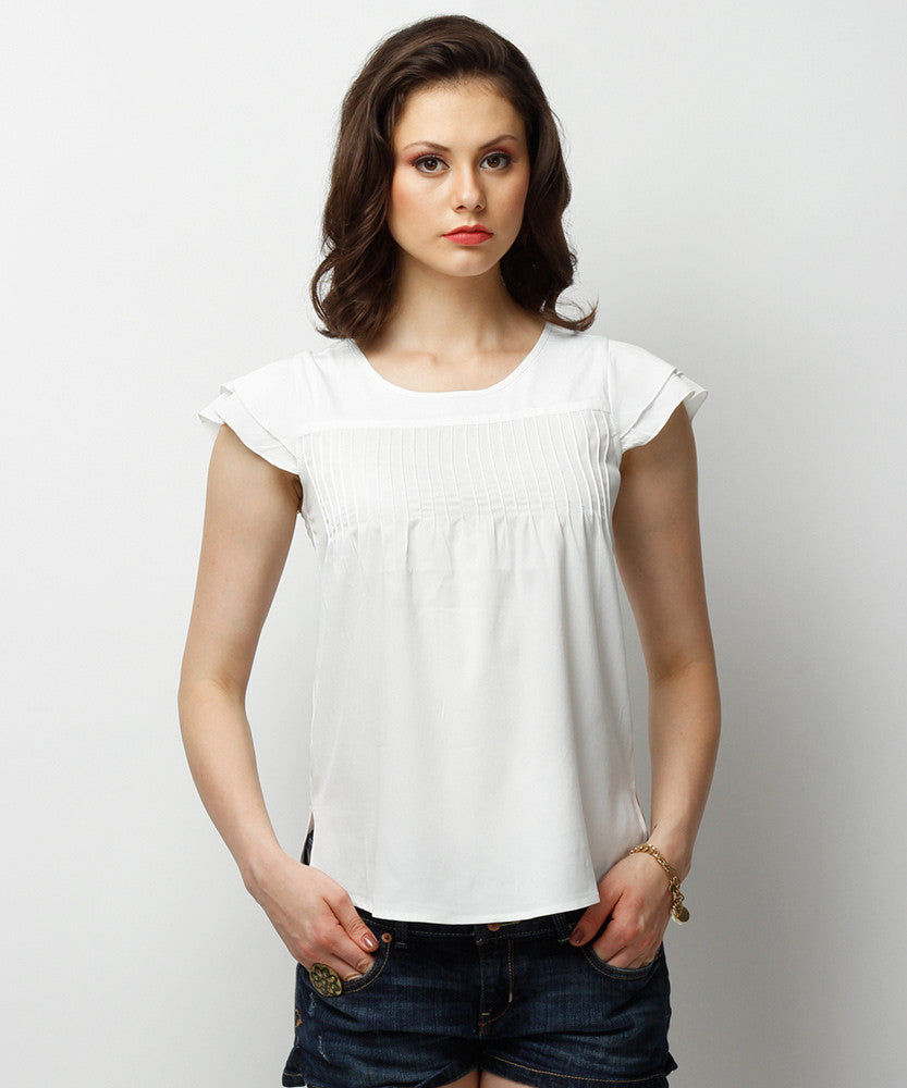 Yepme Sussane Ruffle Top - Off White