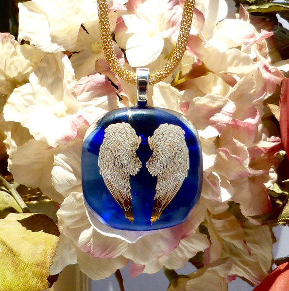Angel Wings cremation jewelry (choice of color chosen after ordering)