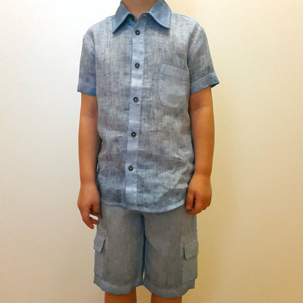 120% lino Short Sleeve Linen Shirt Blue Edelino