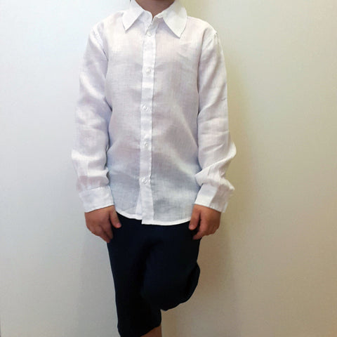 120% lino Kids Boy Long Sleeve Linen Shirt White