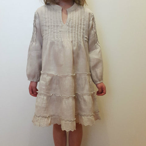 120% Lino Kids Girl Dress Pleated Linen Sand Edelino