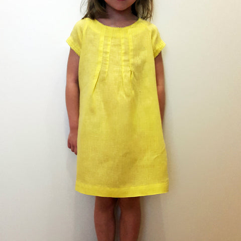 120% lino Girl Linen Dress Lemon