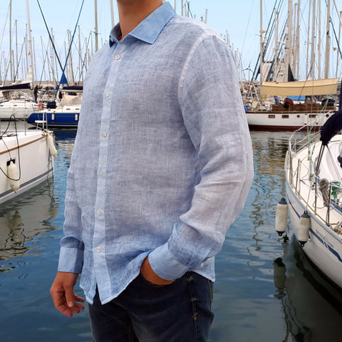 120% LINO Long Sleeve Linen Shirt Fade Blue