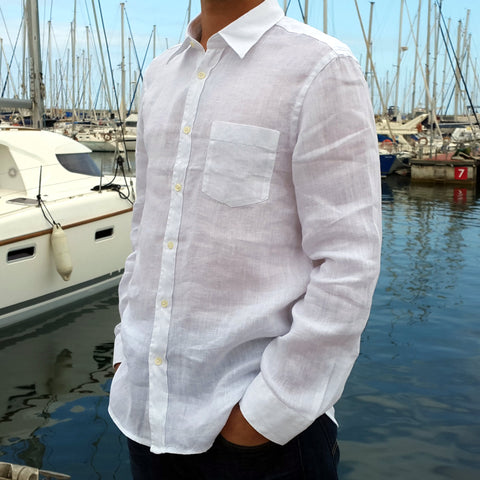 120% LINO Long Sleeve Linen Shirt White Edelino