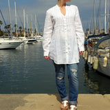 120% Lino White Linen Shirt Woman Edelino