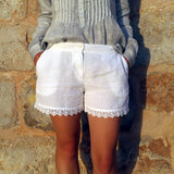 120% Lino White Linen Women Shorts Edelino