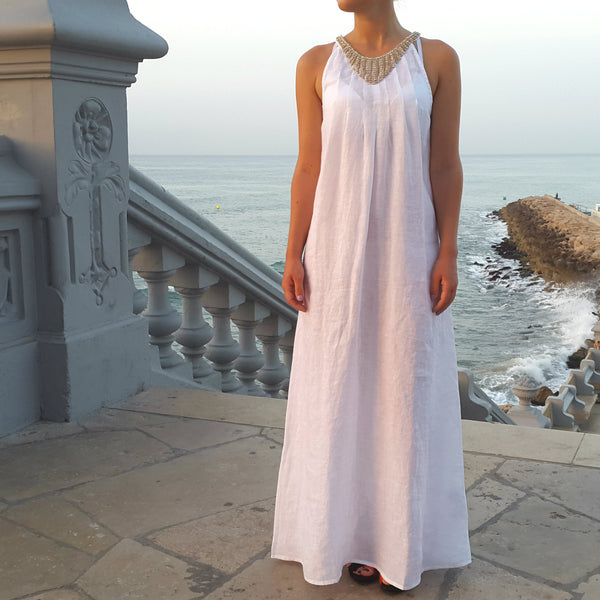 120% Lino White Long Linen Dress with Embellishment