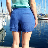 120% Lino Women Blue Linen Short