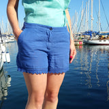 120% Lino Women Blue Linen Short Edelino