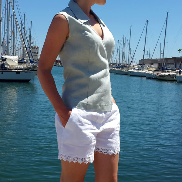 120% Lino Women White Linen Short Edelino