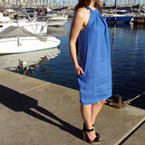 120% Lino Linen Dress Blue Halter Neck