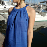 120 Lino Linen Dress Blue Halter Neck