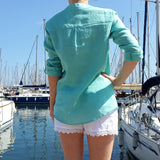V Neck Linen Blouse Aquamarine by Vestales Edelino