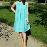 Pleated Linen Dress Aquamarine Vestales