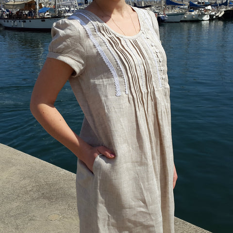 Linen Tunic Dress Beige Vestales