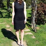 Black Linen Fitted Dress Vestales