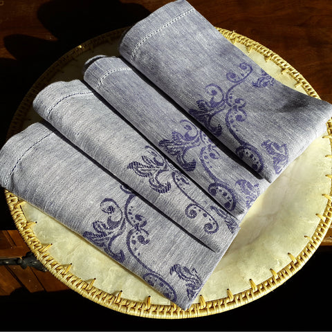 Dark blue hemstitched  linen napkin with decoration Edelino