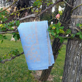 Linen Kitchen Hand Towel Blue with Ornament Detail