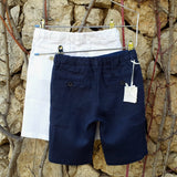 120% lino Kids Boy Shorts Dark Blue White Linen