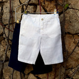 120% lino Kids Boy Linen Shorts Dark Blue White Edelino