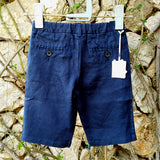 120% lino Boy Linen Shorts Dark Blue