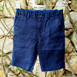 120% lino Boy Linen Shorts Dark Blue Edelino