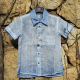 Boy Short Sleeve Linen Shirt Blue 120% Lino Edelino