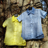 120% lino Short Sleeve Linen Shirt Blue Yellow Edelino