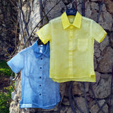 120% lino Boy Short Sleeve Linen Shirt Blue Yellow Edelino