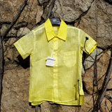 Boy Short Sleeve Linen Shirt Yellow 120% Lino Edelino