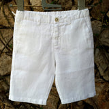 120% lino Boy Linen Shorts White Edelino