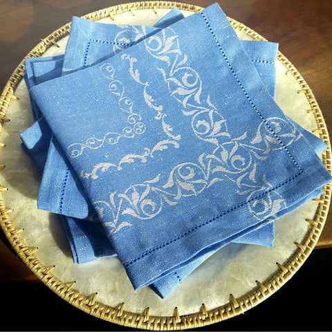 Blue Linen Hemstitched Napkins with motif Edelino