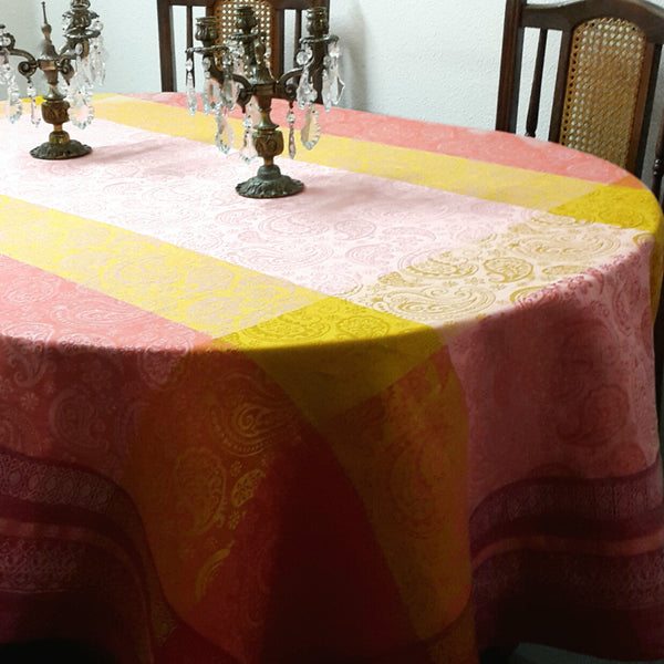 Paisley Linen Tablecloth Hemstitched Bright Red