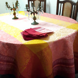 Bright Paisley Hemstitched Linen Tablecloth