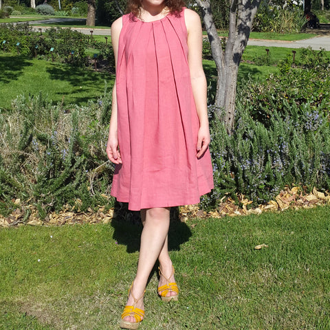 Dark Coral Pleated Linen Dress Vestales