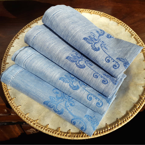 Light Blue Hemstitched linen napkins on plate