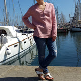 V Neck Linen Blouse Light Pink by Vestales Edelino