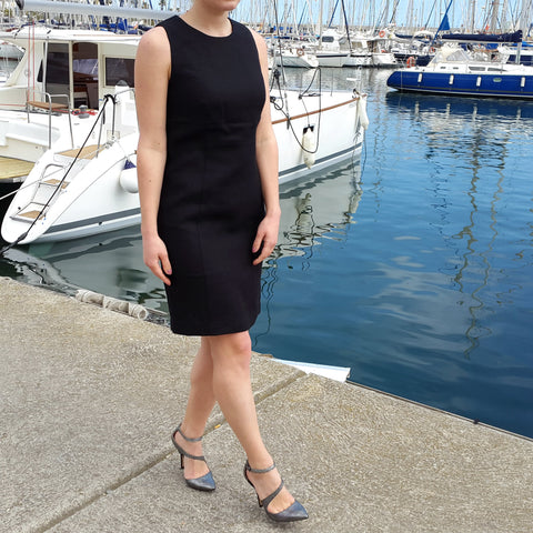 Linen Fitted Dress Black Vestales
