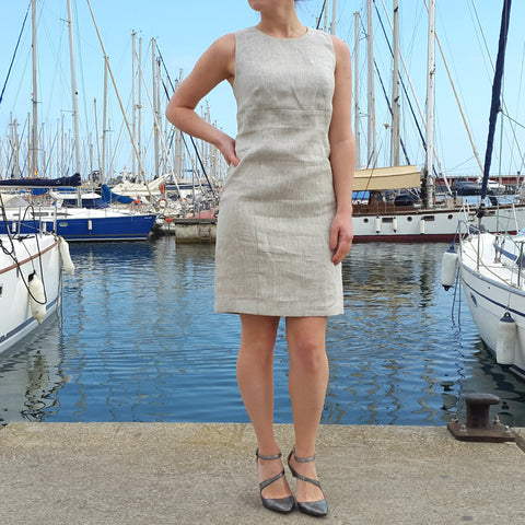 Linen Fitted Dress Natural Beige Vestales