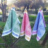 Linen kitchen towels with nature ornament hanging