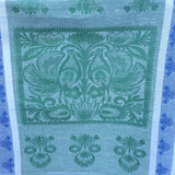 Linen kitchen towel with nature ornament in green