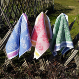 Linen kitchen towels with nature ornament