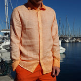 120% LINO Long Sleeve Linen Shirt Fade Orange