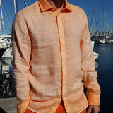 120% LINO Long Sleeve Linen Shirt Fade Orange Front Detail