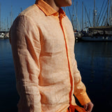 120% LINO Long Sleeve Linen Shirt Fade Orange Side