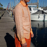120% LINO Long Sleeve Linen Shirt Fade Orange Side Detail