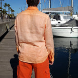 120% LINO Long Sleeve Linen Shirt Fade Orange Back