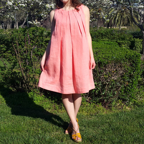 Peach Pleated Linen Dress Vestales