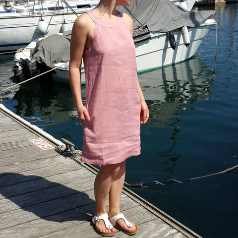 Vestales Halter Neck Linen Dress Light Pink Edelino
