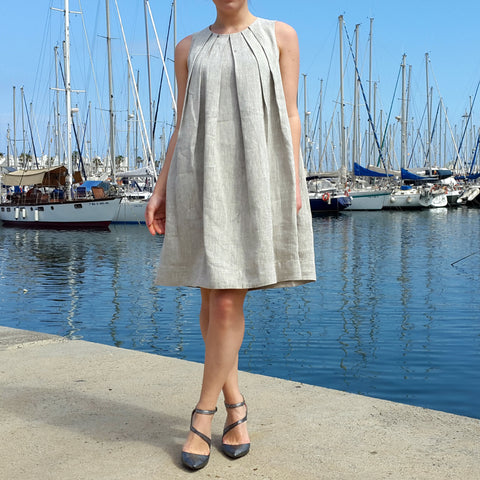 Pleated Linen Dress Natural Beige Vestales